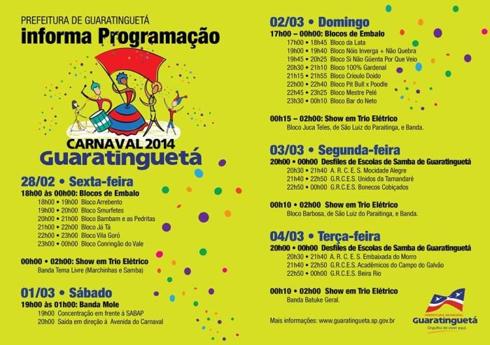 Carnaval 2014 Guara programacao